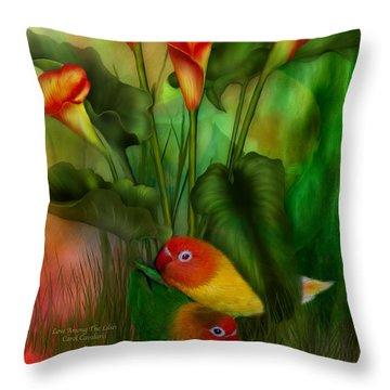 Love Among The Lilies  Throw Pillow