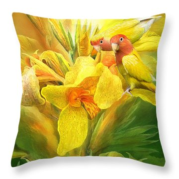 Throw Pillow featuring the mixed media Love Among The Orchids by Carol Cavalaris