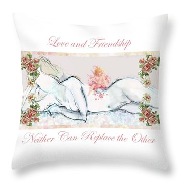 Love And Friendship - Valentine Card Throw Pillow by Carolyn Weltman