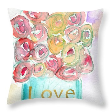 Love And Roses- Art By Linda Woods Throw Pillow
