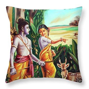 Love And Valour- Ramayana- The Divine Saga Throw Pillow