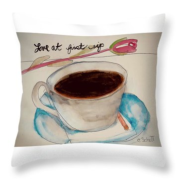 Love At First Sip Throw Pillow