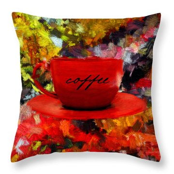 Throw Pillow featuring the digital art Love At First Sip by Lourry Legarde