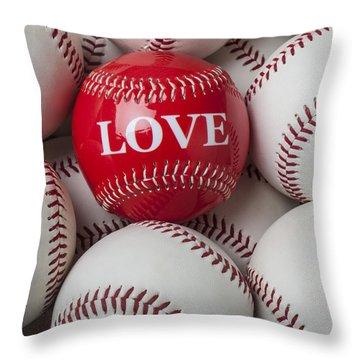 Love Baseball Throw Pillow by Garry Gay