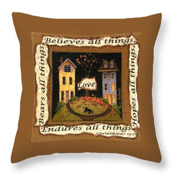 Love Bears All Things... Throw Pillow by Catherine Holman