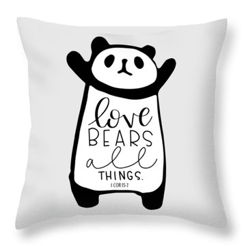 Throw Pillow featuring the mixed media Love Bears All Things by Nancy Ingersoll