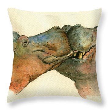 Love Between Hippos Throw Pillow by Juan  Bosco