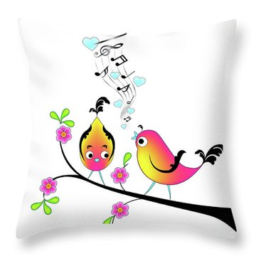 Love Bird Serenade Throw Pillow