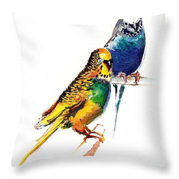 Love Birds Throw Pillow by Anil Nene