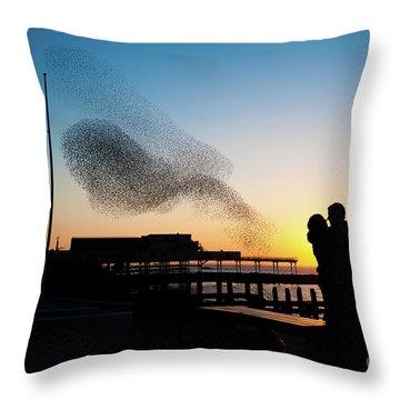 Love Birds At Sunset Throw Pillow