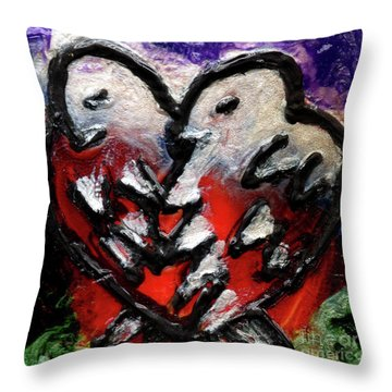 Throw Pillow featuring the painting Love Birds by Genevieve Esson
