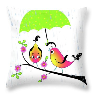 Love Birds In Rain Throw Pillow