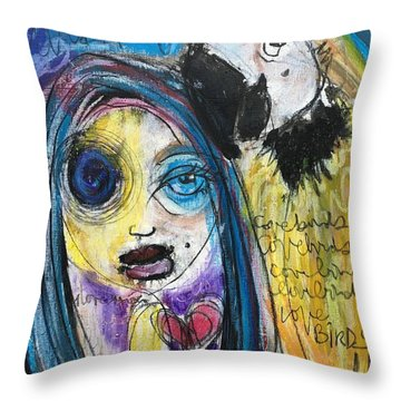 Love Birds Throw Pillow by Laurie Maves ART