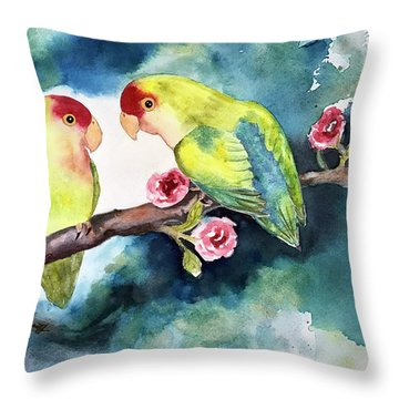Love Birds On Branch Throw Pillow