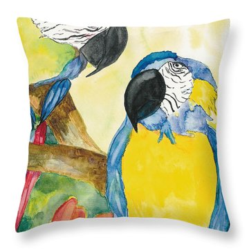 Throw Pillow featuring the painting Love Birds by Vicki  Housel