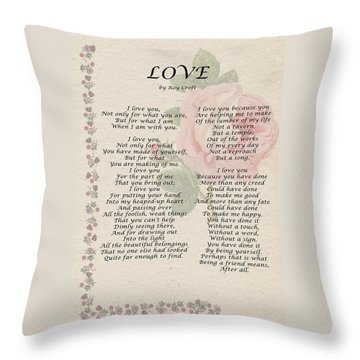 Love By Roy Croft Throw Pillow