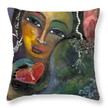 Throw Pillow featuring the painting Love Can Draw An Elephant Through A Key Hole by Prerna Poojara