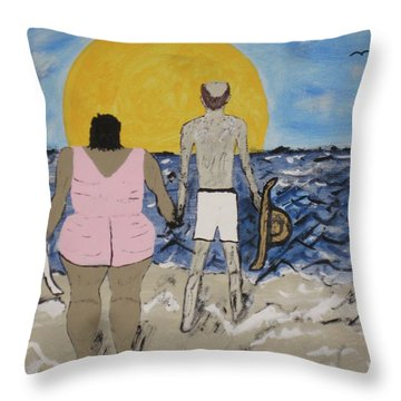 Throw Pillow featuring the painting Love Comes In All Sizes by Jeffrey Koss