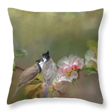Red Whiskered Bulbul Throw Pillows