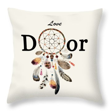 Throw Pillow featuring the painting Love Dior Watercolour Dreamcatcher by Georgeta Blanaru