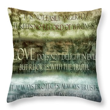 Throw Pillow featuring the digital art Love Does Not Delight In Evil by Angelina Vick