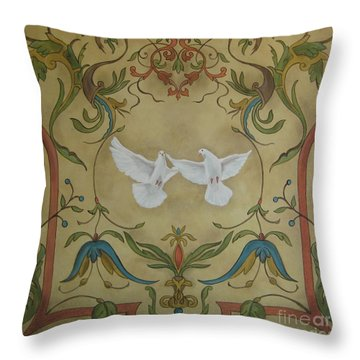 Love Doves Throw Pillow by Jindra Noewi