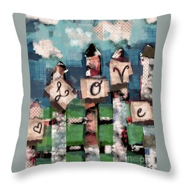 Throw Pillow featuring the mixed media Love Fence by Carrie Joy Byrnes