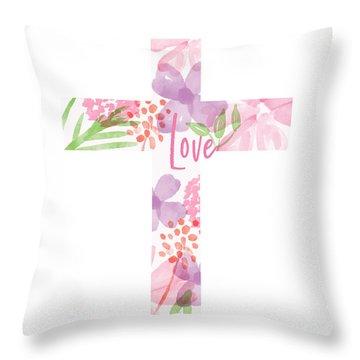 Love Floral Cross- Art By Linda Woods Throw Pillow