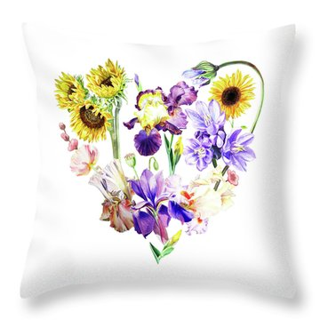 Throw Pillow featuring the painting Love Flowers by Irina Sztukowski