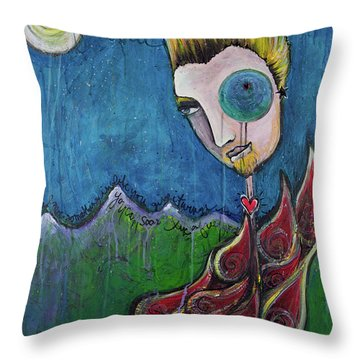 Love For Birdman Throw Pillow by Laurie Maves ART