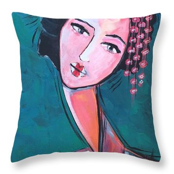 Throw Pillow featuring the painting Love For Geisha Girl by Laurie Maves ART
