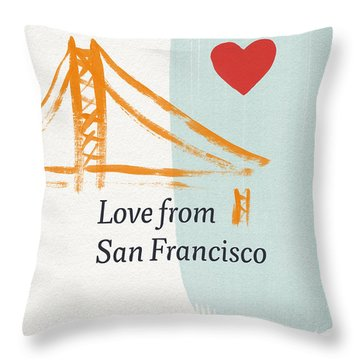 Love From San Francisco- Art By Linda Woods Throw Pillow