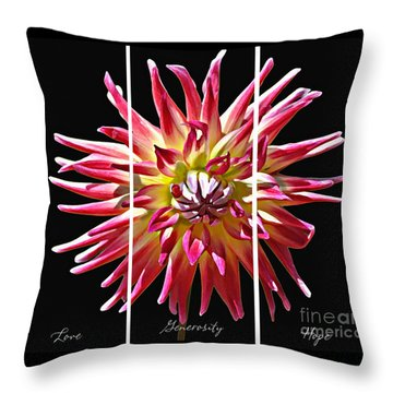 Love Generosity Hope Throw Pillow by Diane E Berry