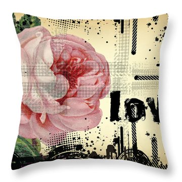 Love Grunge Rose Throw Pillow