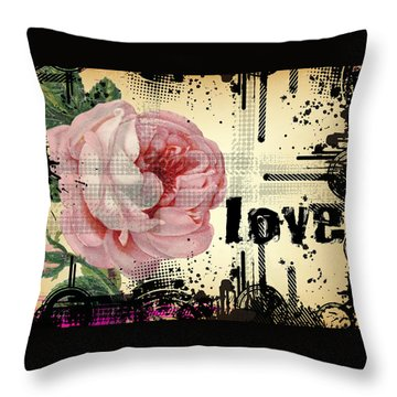 Throw Pillow featuring the digital art Love Grunge Rose by Robert G Kernodle