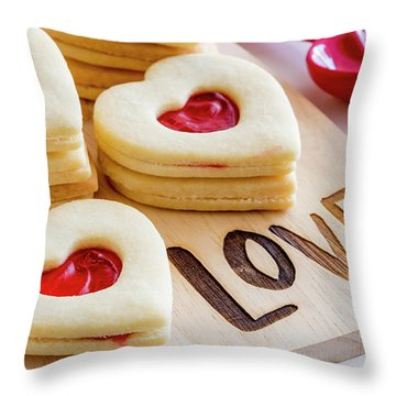 Throw Pillow featuring the photograph Love Heart Cookies by Teri Virbickis