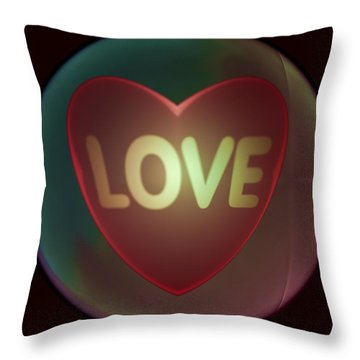 Love Heart Inside A Bakelite Round Package Throw Pillow