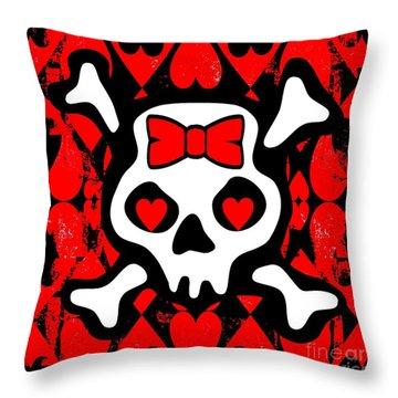 Love Heart Skull Throw Pillow by Roseanne Jones