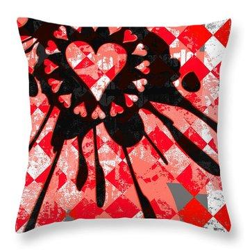 Love Heart Splatter Throw Pillow by Roseanne Jones