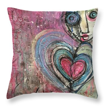 Throw Pillow featuring the painting Love In All Things by Laurie Maves ART