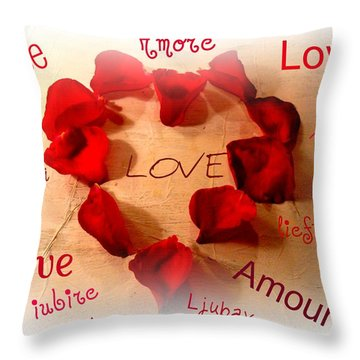 Love In Any Language Throw Pillow by Kathy Bucari