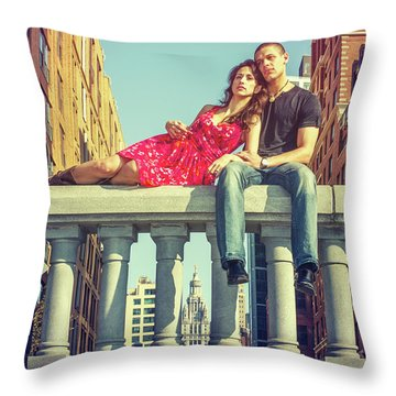 Love In Big City Throw Pillow