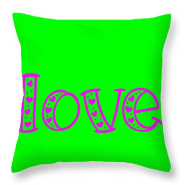 Love In Magenta And Green Throw Pillow