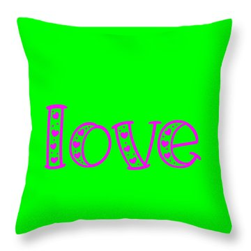 Throw Pillow featuring the digital art Love In Magenta And Green by Bee-Bee Deigner