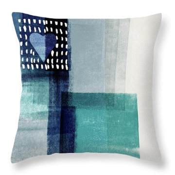Love In Shades Of Blue- Abstract Art By Linda Woods Throw Pillow