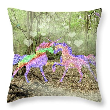 Love In The Magical Forest Throw Pillow by Rosalie Scanlon