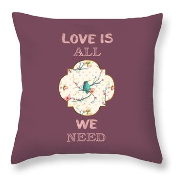 Throw Pillow featuring the digital art Love Is All We Need Typography Hummingbird And Butterflies by Georgeta Blanaru