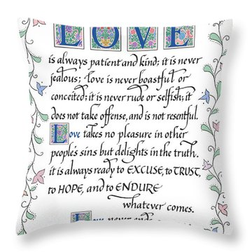 Love Is Always Patient-with Border Throw Pillow