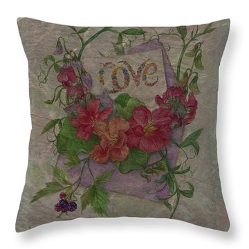 Love Is In Bloom Botanical Throw Pillow