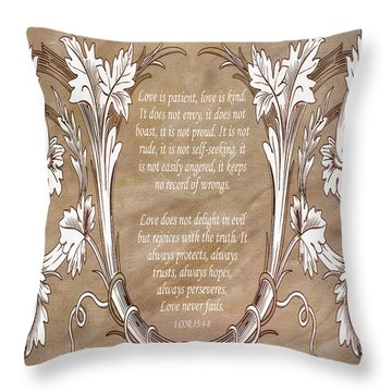 Throw Pillow featuring the digital art Love Is Patient by Angelina Vick